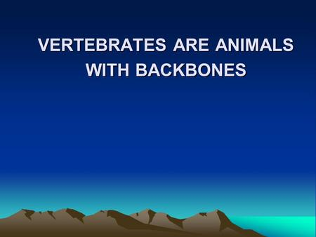VERTEBRATES ARE ANIMALS WITH BACKBONES. MAMMAS Warm blooded vertebrate animals which have hair or fur. Retain the young in their bodies until they are.