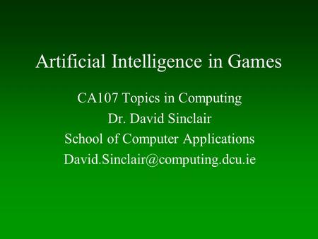 Thesis topics in artificial intelligence
