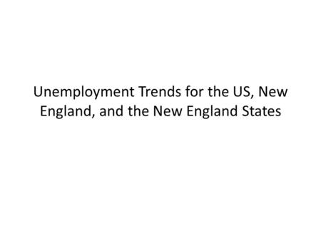 Unemployment Trends for the US, New England, and the New England States.