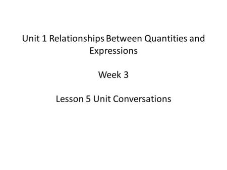 Unit 1 Relationships Between Quantities and Expressions Week 3 Lesson 5 Unit Conversations.