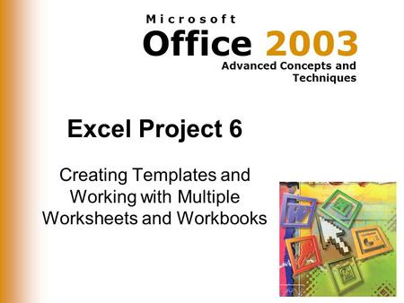 Office 2003 Advanced Concepts and Techniques M i c r o s o f t Excel Project 6 Creating Templates and Working with Multiple Worksheets and Workbooks.