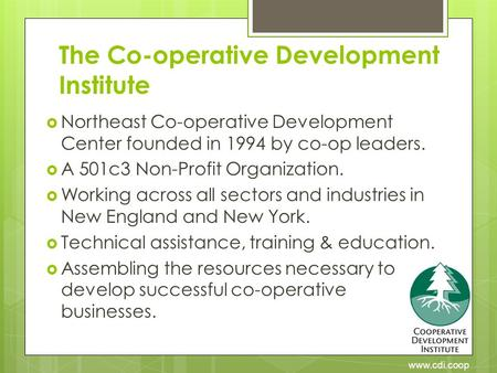 Www.cdi.coop The Co-operative Development Institute  Northeast Co-operative Development Center founded in 1994 by co-op leaders.  A 501c3 Non-Profit.