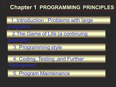 Chapter 1 PROGRAMMING PRINCIPLES 1. Introduction : Problems with large programs 2.The Game of Life (a continuing example) 3. Programming style 4. Coding,
