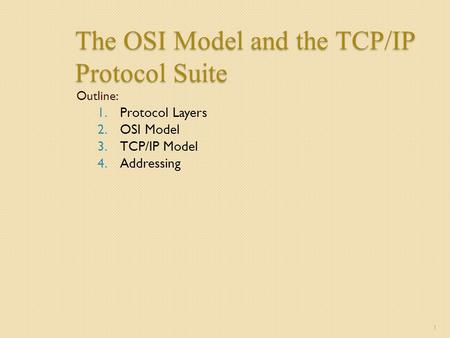 The OSI Model and the TCP/IP Protocol Suite Outline: 1.Protocol Layers 2.OSI Model 3.TCP/IP Model 4.Addressing 1.