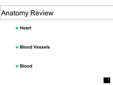 1 Anatomy Review Heart Blood Vessels Blood. 2 Cardiovascular and Lymphatic Disease — Bacterial Septicemias Septicemia Lymphangitis Commonly Gram –ve Septic.