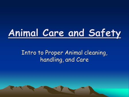 Animal Care and Safety Intro to Proper Animal cleaning, handling, and Care.