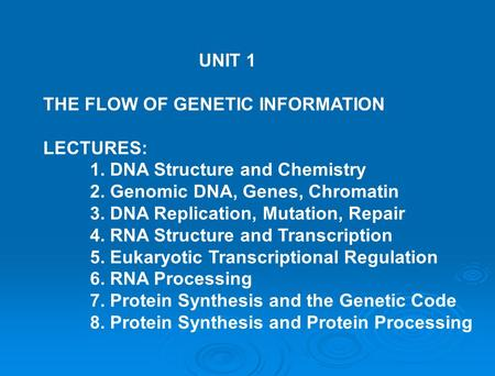 THE FLOW OF GENETIC INFORMATION LECTURES: