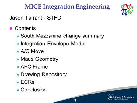 MICE Integration Engineering Jason Tarrant - STFC l Contents »South Mezzanine change summary »Integration Envelope Model »A/C Move »Maus Geometry »AFC.