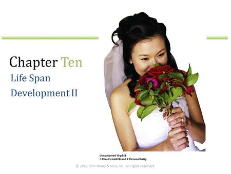C hapter Ten Life Span Development II © 2012 John Wiley & Sons, Inc. All rights reserved.