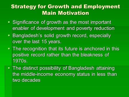 Strategy for Growth Bangladesh