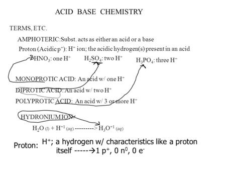 ACID BASE CHEMISTRY TERMS, ETC. AMPHOTERIC:Subst. acts as either an acid or a base Proton (Acidic p + ): H + ion; the acidic hydrogen(s) present in an.