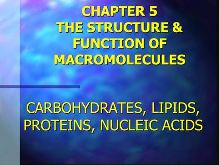 CHAPTER 5 THE STRUCTURE & FUNCTION OF MACROMOLECULES CARBOHYDRATES, LIPIDS, PROTEINS, NUCLEIC ACIDS.