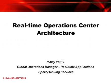 Real-time Operations Center Architecture
