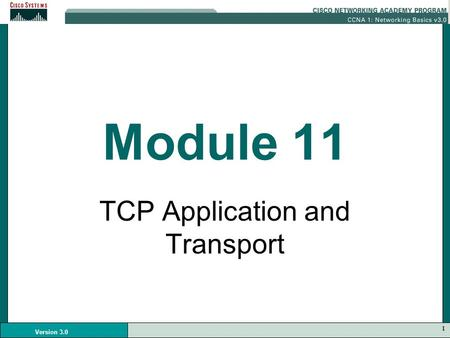 1 Version 3.0 Module 11 TCP Application and Transport.