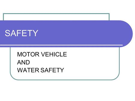 SAFETY MOTOR VEHICLE AND WATER SAFETY. MOTOR VEHICLE SAFETY Most frequent cause of accidental death (______) _____ would live if they used seat belts.