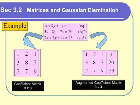 Sec 3.2 Matrices and Gaussian Elemination Coefficient Matrix 3 x 3 Coefficient Matrix 3 x 3 Augmented Coefficient Matrix 3 x 4 Augmented Coefficient Matrix.
