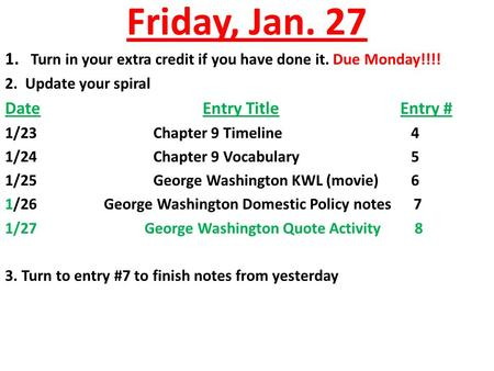 Friday, Jan. 27 1. Turn in your extra credit if you have done it. Due Monday!!!! 2. Update your spiral DateEntry TitleEntry # 1/23Chapter 9 Timeline 4.