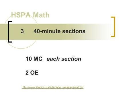 HSPA Math  340-minute sections 10 MCeach section 2 OE.