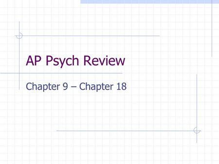 AP Psych Review Chapter 9 – Chapter 18. Topics Intelligence theorists Personality theorists Therapies & approaches.
