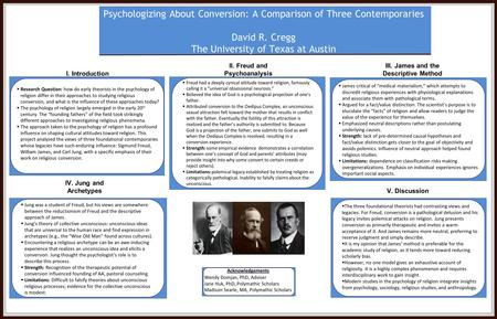 Psychologizing About Conversion: A Comparison of Three Contemporaries David R. Cregg The University of Texas at Austin I. Introduction V. Discussion 