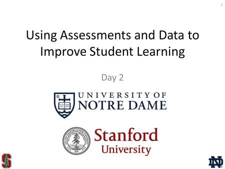 Using Assessments and Data to Improve Student Learning Day 2 1.