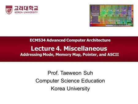 Lecture 4. Miscellaneous Addressing Mode, Memory Map, Pointer, and ASCII Prof. Taeweon Suh Computer Science Education Korea University ECM534 Advanced.