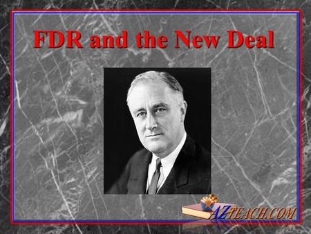 FDR and the New Deal.  FDR promised relief (direct aid, money, loans) recovery (abandoned gold standard, created jobs, Federal Housing Act, AAA), and.