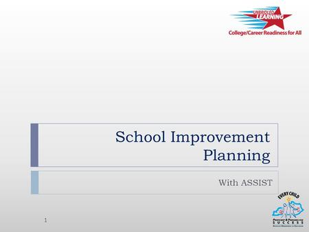 School Improvement Planning With ASSIST 1. What is ASSIST? 2  ASSIST = Adaptive System of School Improvement Support Tools  Partner = AdvancED  Web-based.