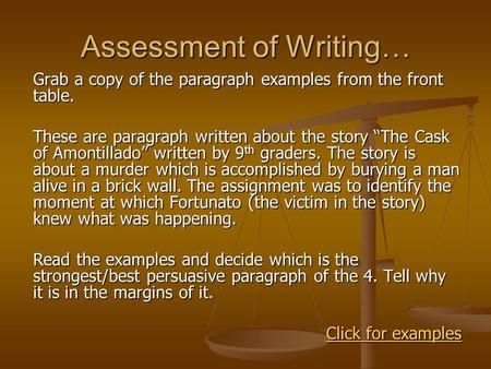 "Assessment of Writing… Grab a copy of the paragraph examples from the front table. These are paragraph written about the story ""The Cask of Amontillado"""