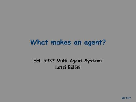 EEL 5937 What makes an agent? EEL 5937 Multi Agent Systems Lotzi Bölöni.
