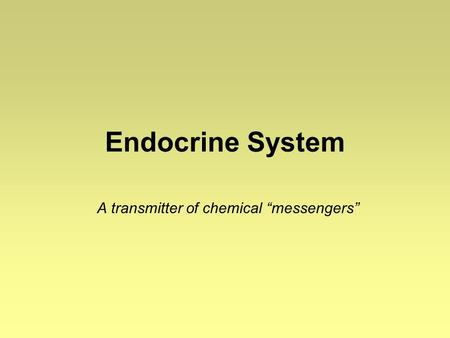"Endocrine System A transmitter of chemical ""messengers"""