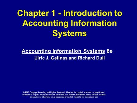 Chapter 1 - Introduction to Accounting Information Systems
