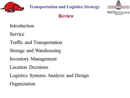 Transportation and Logistics Strategy Review Introduction Service Traffic and Transportation Storage and Warehousing Inventory Management Location Decisions.