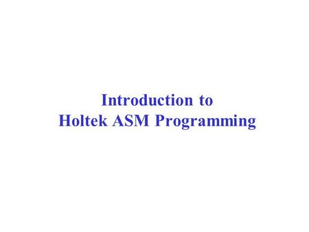 Introduction to Holtek ASM Programming