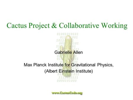Cactus Project & Collaborative Working Gabrielle Allen Max Planck Institute for Gravitational Physics, (Albert Einstein Institute)