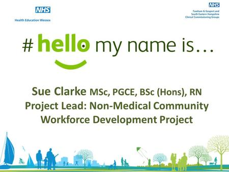 Sue Clarke MSc, PGCE, BSc (Hons), RN Project Lead: Non-Medical Community Workforce Development Project.