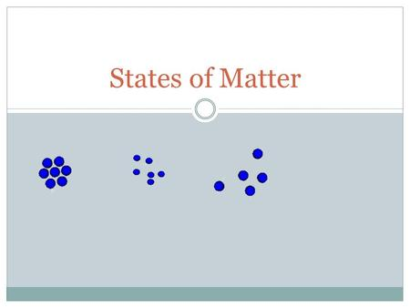 States of Matter. The Kinetic-Molecular Theory Describes the behavior of gases in terms of particles in motion. Gases are composed of small particles.