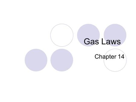 Gas Laws Chapter 14. Kinetic Molecular Theory of Gases No attraction/repulsion between particles Volume of particles is 0 Constant random motion Elastic.
