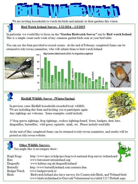 "Bird Watch Ireland Survey. 1/12/2014 – 1/3/2015 In particular we would like to focus on the ""Garden Birdwatch Survey"" run by Bird watch Ireland. This is."