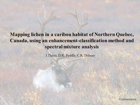 Mapping lichen in a caribou habitat of Northern Quebec, Canada, using an enhancement-classification method and spectral mixture analysis J.Théau, D.R.