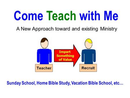 Come Teach with Me A New Approach toward and existing Ministry Sunday School, Home Bible Study, Vacation Bible School, etc… Impart Something of Value.