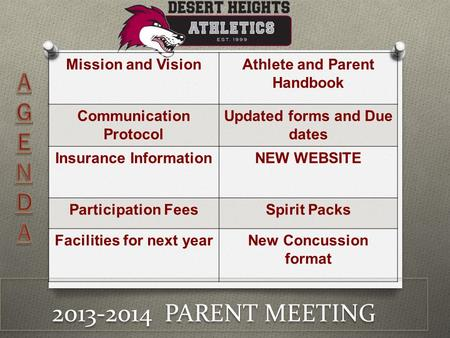 2013-2014 PARENT MEETING Mission and VisionAthlete and Parent Handbook Communication Protocol Updated forms and Due dates Insurance InformationNEW WEBSITE.