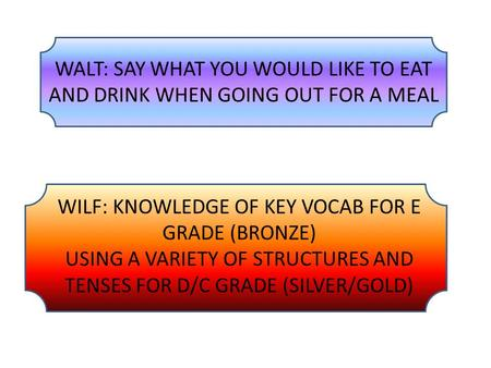 WALT: SAY WHAT YOU WOULD LIKE TO EAT AND DRINK WHEN GOING OUT FOR A MEAL WILF: KNOWLEDGE OF KEY VOCAB FOR E GRADE (BRONZE) USING A VARIETY OF STRUCTURES.