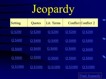 Jeopardy Setting QuotesLit. TermsConflict Conflict 2 Q $200 Q $400 Q $600 Q $800 Q $1000 Q $200 Q $400 Q $600 Q $800 Q $1000 Final Jeopardy.
