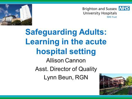 Safeguarding Adults: Learning in the acute hospital setting Allison Cannon Asst. Director of Quality Lynn Beun, RGN.