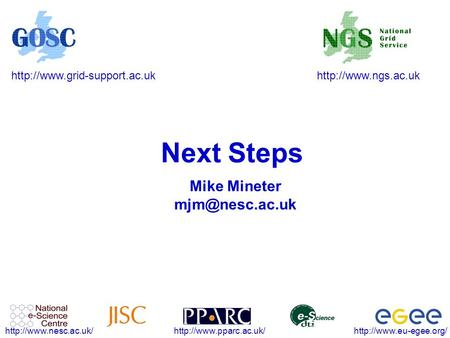 Next Steps Mike Mineter