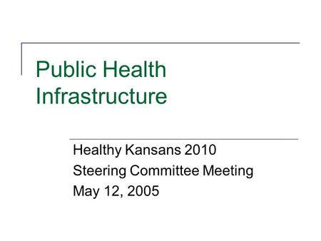 Public Health Infrastructure Healthy Kansans 2010 Steering Committee Meeting May 12, 2005.