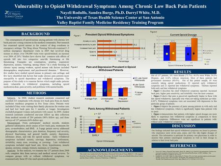 Vulnerability to Opioid Withdrawal Symptoms Among Chronic Low Back Pain Patients Subjects. In 2008, student research assistants consented and enrolled.