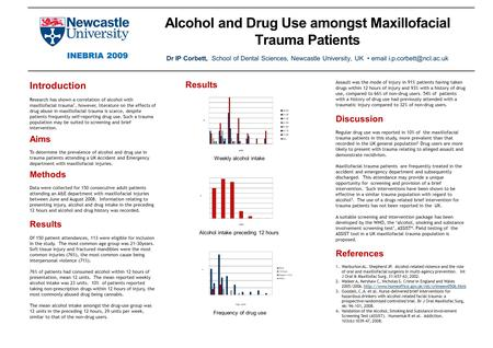 Alcohol and Drug Use amongst Maxillofacial Trauma Patients Dr IP Corbett, School of Dental Sciences, Newcastle University, UK