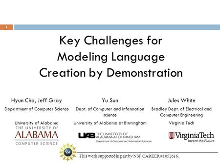 Key Challenges for Modeling Language Creation by Demonstration Hyun Cho, Jeff Gray Department of Computer Science University of Alabama Jules White Bradley.